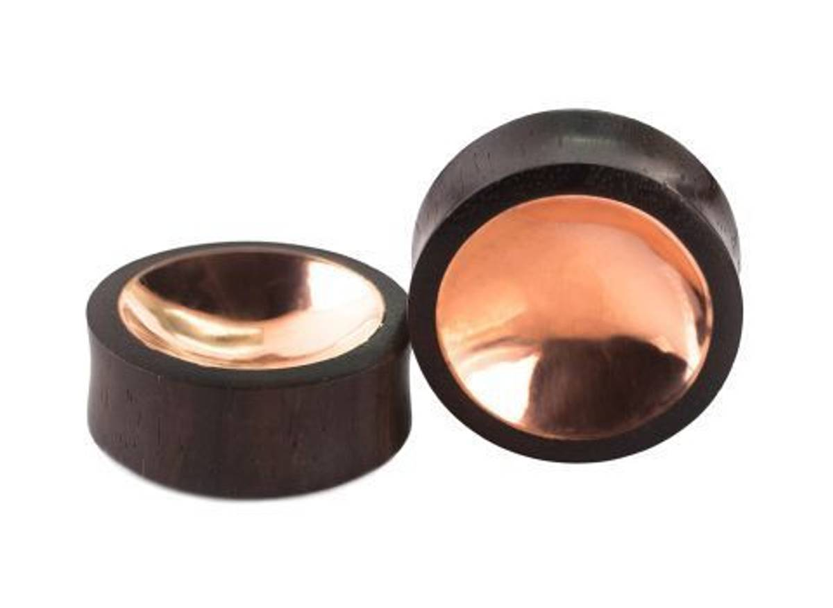 Organic Sono Wood Saddle Plug with Concaved Copper Tin Center