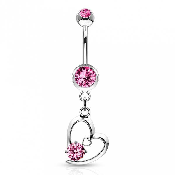 Bilde av Hollow Heart Belly Ring Pink