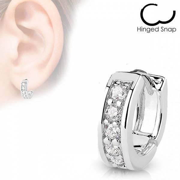 Bilde av Channel CZ Half Hoop Earring