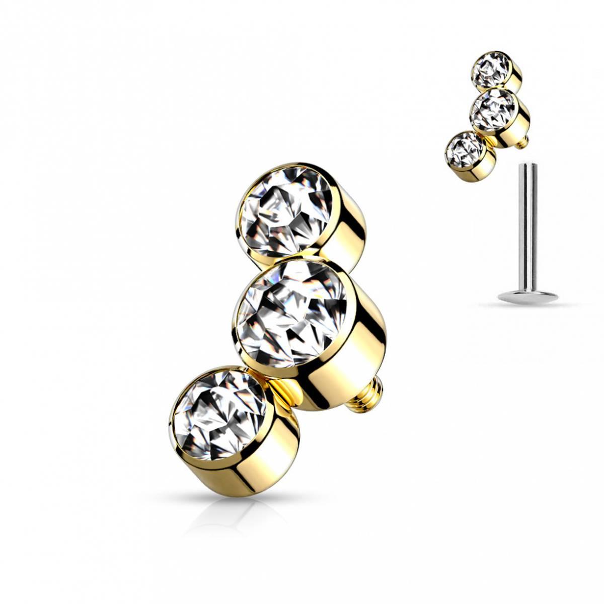 Three Gems Internally Threaded Gold