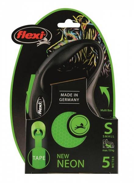 FLEXI CLASSIC NEW NEON TAPE S 5M SORT/NEON GRØNN MAX 15KG