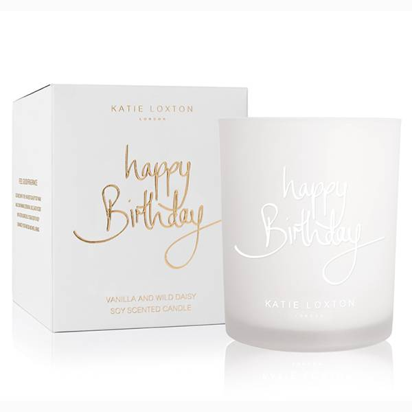 Duftlys HAPPY BIRTHDAY Hvit Katie Loxton
