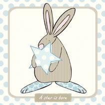 Kort A star is born Blå Rufus Rabbit