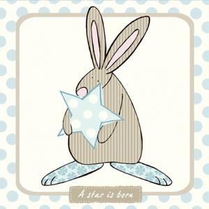 Bilde av Kort A star is born Blå Rufus Rabbit