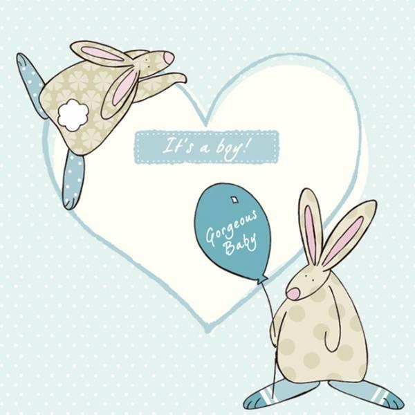 Kort It's a boy Rufus Rabbit