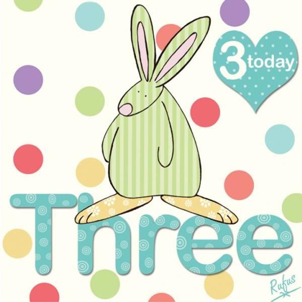 Bursdagskort 3 år med prikker Rufus Rabbit
