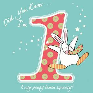 Bilde av Bursdagskort 1 år Rufus Rabbit