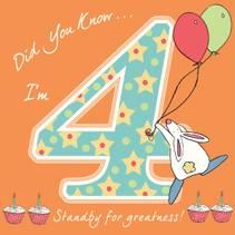 Bursdagskort 4 år Rufus Rabbit