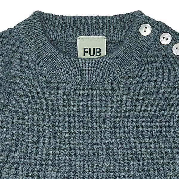 Baby genser m vaffelmønsterMerinoull Sjøgrønn FUB