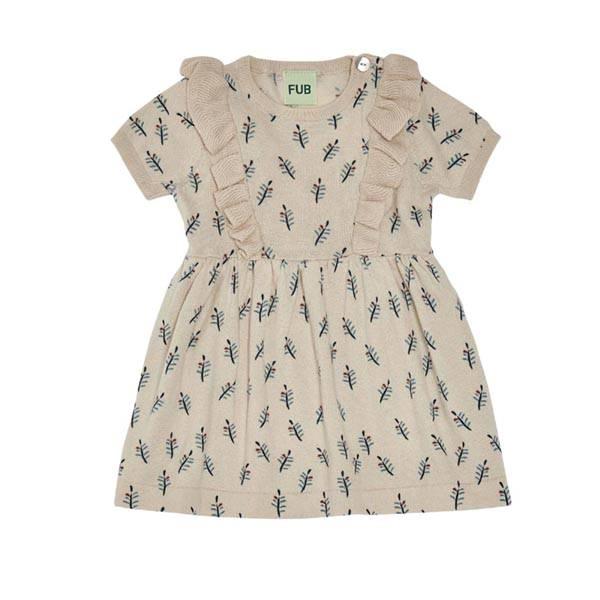 Baby kjole Beige m bladmønster FUB