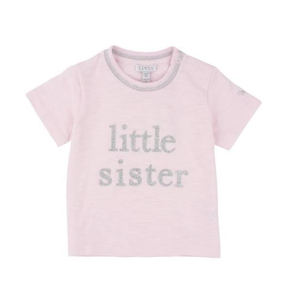 T-skjorte LITTLE SISTER lys rosa Livly