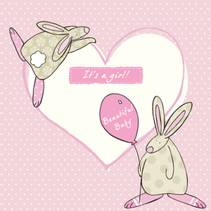 Kort It´s a girl Rufus Rabbit