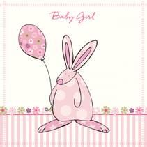 Kort Baby Girl blomster Rufus Rabbit