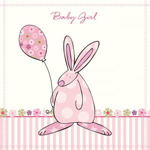 Bilde av Kort Baby Girl blomster Rufus Rabbit