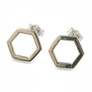 Bilde av Øredobber Hexagon i Sølv Syster P