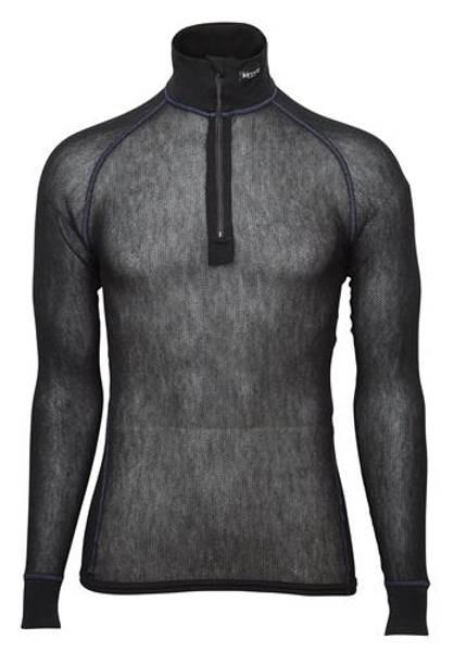 Bilde av Wool Thermo Light Zip-polo 3/4 neck - Sort