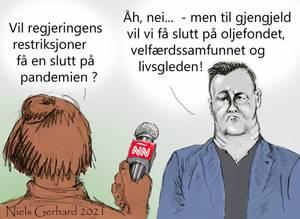 Bilde av Niels Gerhard karikatur - Enden er nær
