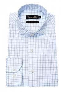 Bilde av Exclusive Two-Ply White/Blue Check Business Shirt