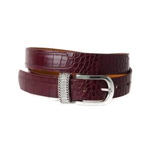 Bilde av Croco belte med strass - burgunder