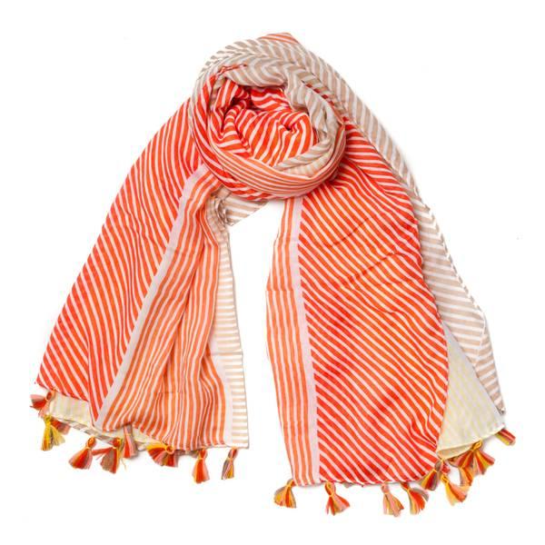 Skjerf stripete med frynser - orange