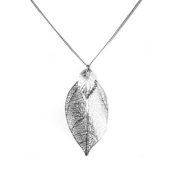 Halskjede med blader - sort