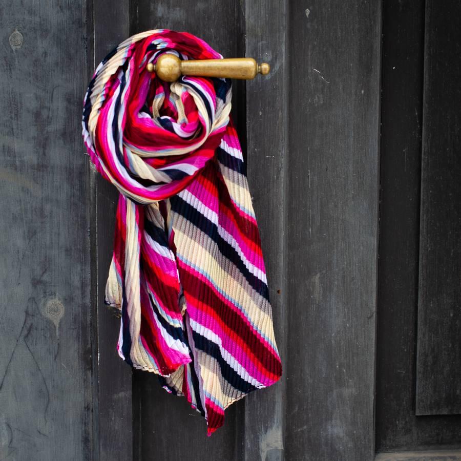 Stripete skjerf - rosa