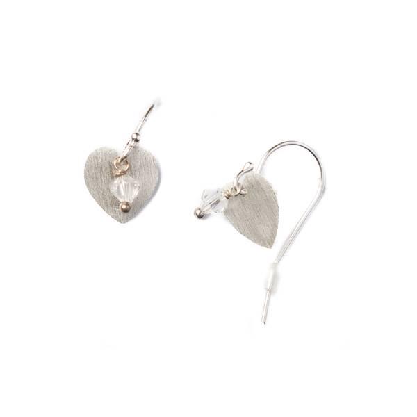 Øredobber med hjerte i sølv og swarowsky krystall