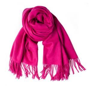 Bilde av Ullskjerf med frynser - rosa