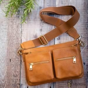 Bilde av Luna citybag i skinn - lys brun