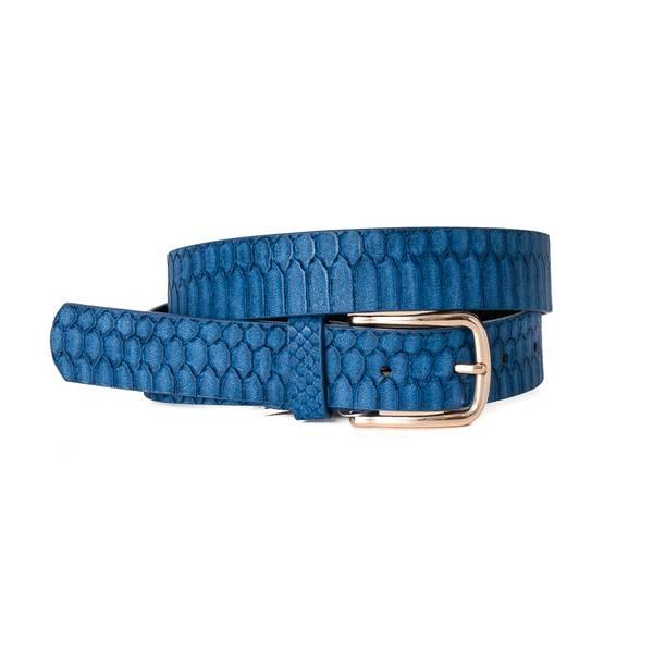 Belte i krokodille look - blå