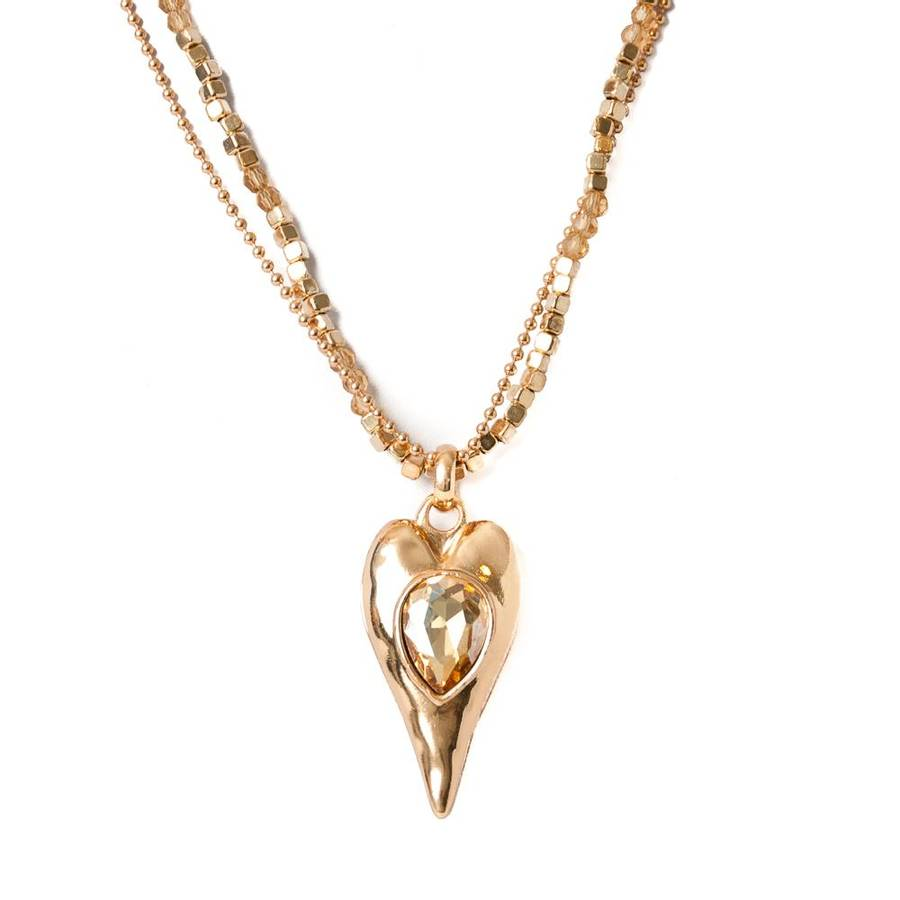Dobbelt halskjede med hjerte - gull