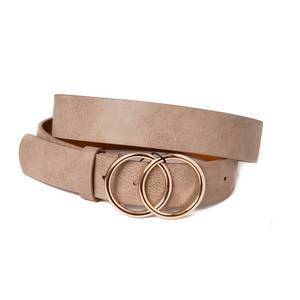 Bilde av Belte med dobbel sirkelspenne - beige