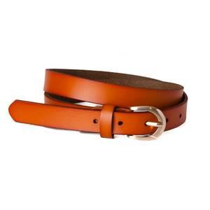 Bilde av Belte med oval spenne skinnbelte - orange