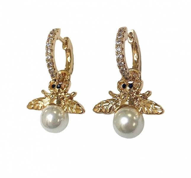 Perle bie gull øreringer