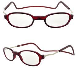 Brillo Brille m/magnetf. oval. Rød