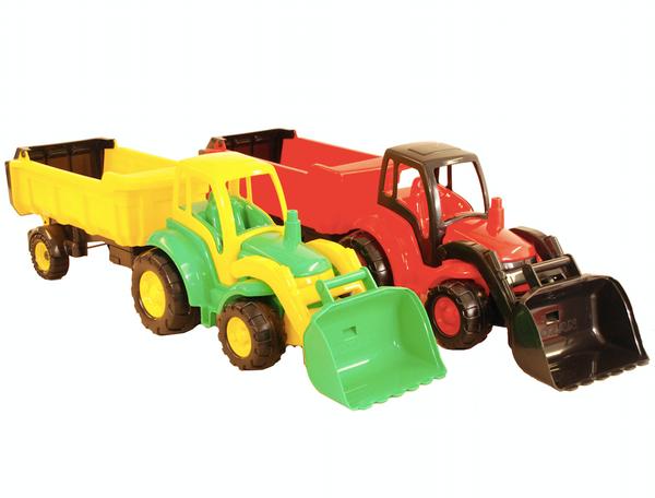 Bilde av Traktor Med Tilhenger   85 cm   Assorterte Farger