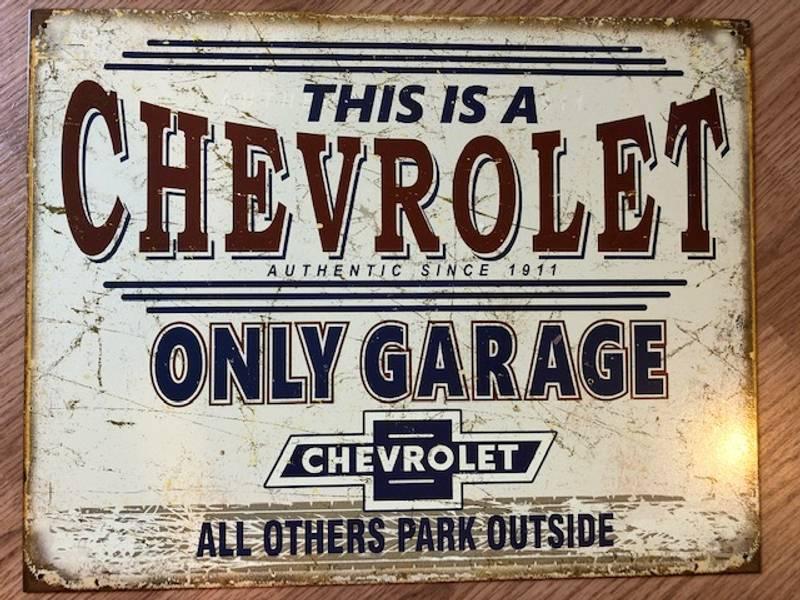 Metallskilt Chevrolet garage