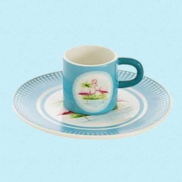Frokostsett i keramikk Flamingo