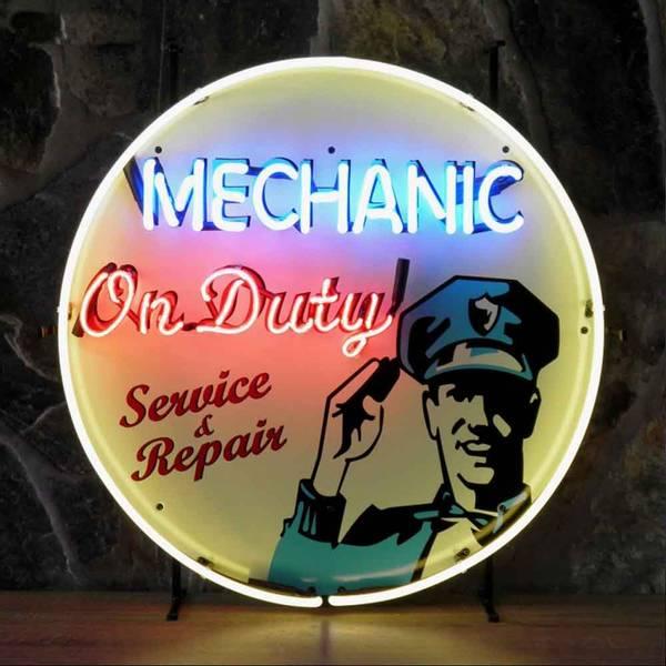 Mechanic on duty neonskilt