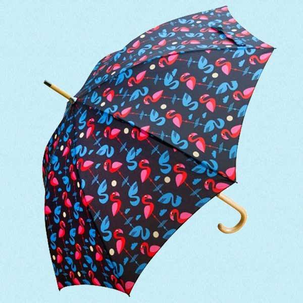 Paraply med flamingoer