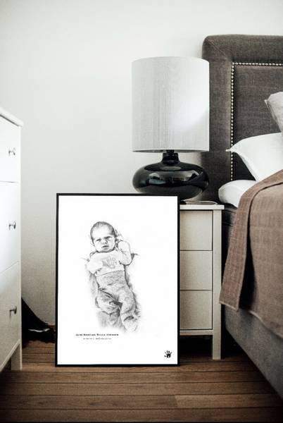Ekslusiv Fødselsplakat Giclée skala 1:1