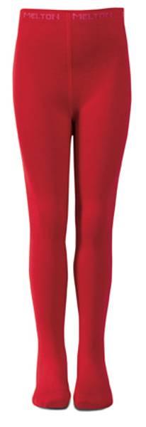 Melton rød strømpebukse med flettemønster