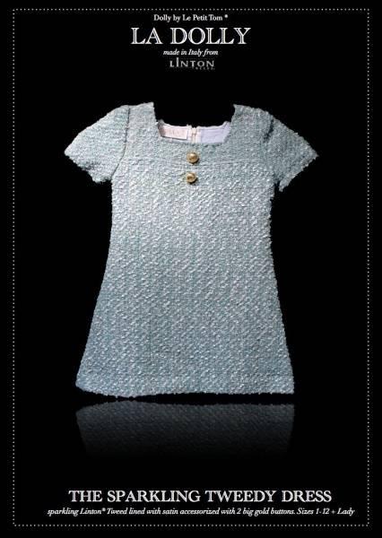 Dolly, Sparkling tweedy dress, Linton tweed, turquoise