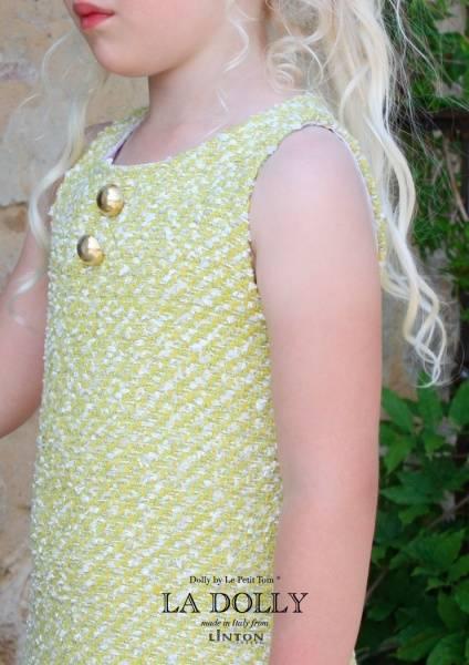 Dolly, Sparkling sunshine dress, Linton tweed, yellow