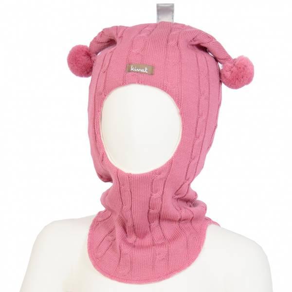 Kivat, rosa hettelue med flettemønster og dusker