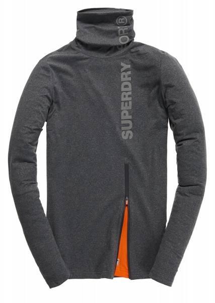 Superdry, gym sport runner funnel neck grey grit
