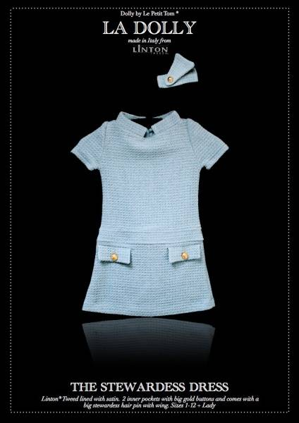 Dolly, the stewardess dress, Linton tweed, blue