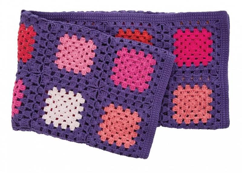 Sebra, heklet teppe firkanter, lilla