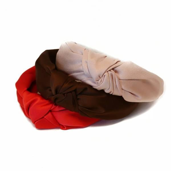 Noma, 3 hårbøyler satin rød/brun/øys rosa