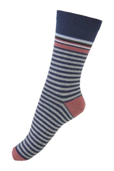 Melton sokker, navy med striper